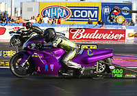 Oct 29, 2016; Las Vegas, NV, USA; NHRA pro stock motorcycle rider Gunner Courtney during qualifying for the Toyota Nationals at The Strip at Las Vegas Motor Speedway. Mandatory Credit: Mark J. Rebilas-USA TODAY Sports