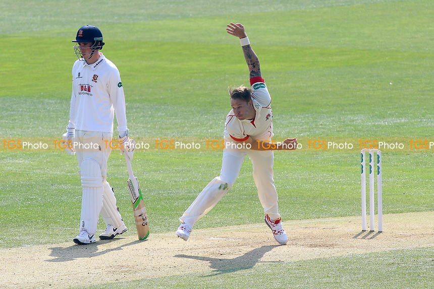 Kyle Jarvis in bowling action for Lancashire during Essex CCC vs Lancashire CCC, Specsavers County Championship Division 1 Cricket at The Cloudfm County Ground on 8th April 2017