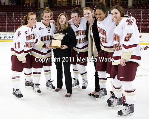 Caitlin Walsh (BC - 11), Dru Burns (BC - 7), Corinne Boyles (BC - 29), Ashley Motherwell (BC - 18), Elizabeth Olchowski (BC - 13),Blake Bolden (BC - 10), Kristina Brown (BC - 2) - The Boston College Eagles defeated the Harvard University Crimson 3-1 to win the 2011 Beanpot championship on Tuesday, February 15, 2011, at Conte Forum in Chestnut Hill, Massachusetts.