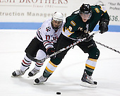 Steve Silva (NU - 17), Ryan Lehr (St. Thomas - 2) - The Northeastern University Huskies defeated the St. Thomas Tommies 7-5 in their exhibition match on Saturday, October 3, 2009, at Matthews Arena in Boston, Massachusetts.