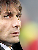 Calcio, semifinale di ritorno di Coppa Italia: Lazio vs Juventus. Roma, stadio Olimpico, 29 gennaio 2013..Juventus coach Antonio Conte looks on prior to the start of the Italy Cup football semifinal return leg match between Lazio and Juventus at Rome's Olympic stadium, 29 January 2013..UPDATE IMAGES PRESS/Riccardo De Luca