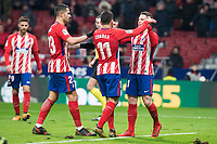 Atletico de Madrid Vitolo Machin, Angel Martin Correa and Kevin Gameiro celebrating a goal during King's Cup match between Atletico de Madrid and Lleida Esportiu at Wanda Metropolitano in Madrid, Spain. January 09, 2018. (ALTERPHOTOS/Borja B.Hojas) /NortePhoto.com NORTEPHOTOMEXICO