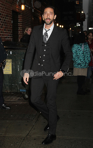 NEW YORK, NY - FEBRUARY 24: Adrien Brody arrives at 'The Late Show with Stephen Colbert' in New York, New York on February 24, 2016. Photo Credit: Rainmaker Photo/MediaPunch