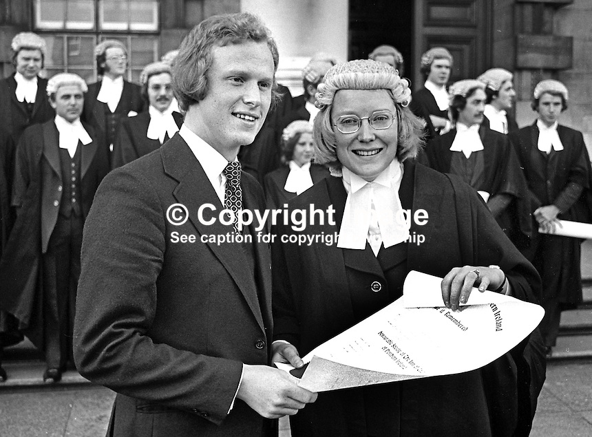 Belfast, N Ireland, barrister, Paul Girvan, with his wife, Karen Girvan, who was among a group of new barristers called to the Bar, photographed outside the High Court in Belfast, 21st October 1975. Paul Girvan went on to become Sir Paul Girvan, a high court judge, and later Lord Justice Girvan. 197510210701.<br />