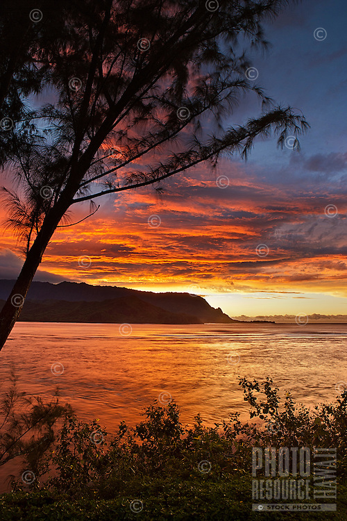 A vivid sunset at Hanalei Bay, Kaua'i.
