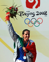 Aug 20, 2008, Qingdao, China, Italy's Alessandra Sensini, celebrates her silver medal in the women's RS:X windsurfing event at Qingdao Olympic Sailing Center.<br /> Alessandra Sensini, medaglia d'argento Windsurf <br /> Pechino - Beijing Qingdao 20/8/2008 Olimpiadi 2008 Olympic Games<br /> Foto Cspa Insidefoto