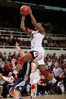 STANFORD, CA - DECEMBER 28: Nnemkadi Ogwumike of Stanford women's basketball drives the lane to put up a shot in a game against Xavier on December 28, 2010 at Maples Pavilion in Stanford, California.  Stanford topped Xavier, 89-52.