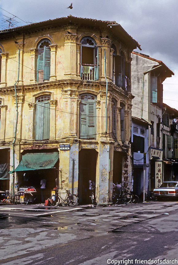 Singapore: Chinatown--old commercial building. Photo '82.