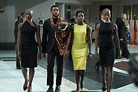 Black Panther (2018) <br /> Florence Kasumba, Danai Gurira, Lupita Nyong'o &amp; Chadwick Boseman.  <br /> *Filmstill - Editorial Use Only*<br /> CAP/RFS<br /> Image supplied by Capital Pictures