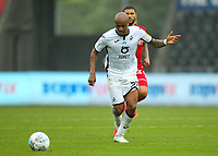 18th July 2020; Liberty Stadium, Swansea, Glamorgan, Wales; English Football League Championship, Swansea City versus Bristol City; Andre Ayew of Swansea City passes the ball