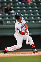 Designated hitter Tyler Hill (7) of Greenville Drive bats in a game against the Greensboro Grasshoppers on Tuesday, April 25, 2017, at Fluor Field at the West End in Greenville, South Carolina. Greenville won, 5-1. (Tom Priddy/Four Seam Images)
