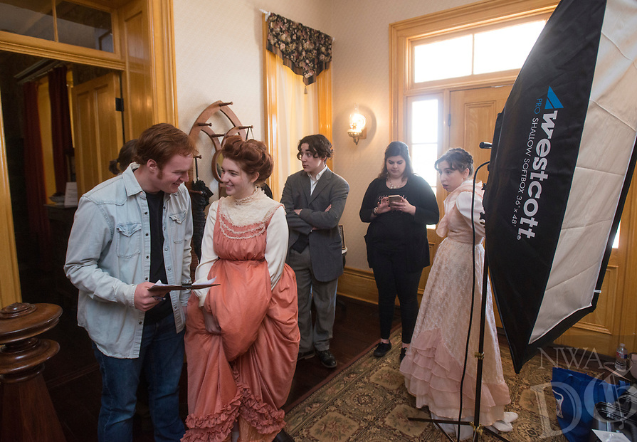 NWA Democrat-Gazette/BEN GOFF @NWABENGOFF<br /> Arkansas Arts Academy students films Friday, March 2, 2018, for a project at the Peel Mansion Museum and Heritage Gardens in Bentonville. High school students from the school's audio visual class and theater program are collaborating to produce a 15 minute short film about the Peel Mansion as an entry for the Arkansas Educational Television Network's Student Selects competition for young filmmakers. The film includes interviews with people involved in the museum as well as vignettes of moments in the 1875 home's history with theater students portraying historical figures.