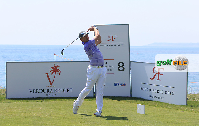 Matt Wallace (ENG) on the 8th tee during Round 1 of The Rocco Forte Open  at Verdura Golf Club on Thursday 18th May 2017.<br /> Photo: Golffile / Thos Caffrey.<br /> <br /> All photo usage must carry mandatory copyright credit     (&copy; Golffile   Thos Caffrey)