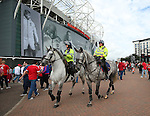 Mounted Police patrol the stadium during the Premier League match at Old Trafford Stadium, Manchester. Picture date: September 10th, 2016. Pic Simon Bellis/Sportimage
