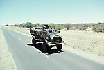 A Caspir vehicle returning from  operations in Angola..against SWAPO  during the build up to the south African Elections. Nambia, Africa.