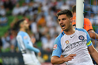 Melbourne, 3 December 2016 - BRUNO FORNAROLI (23) of Melbourne City reacts after missing a kick on goal in the round 9 match of the A-League between Melbourne City and Brisbane Roar at AAMI Park, Melbourne, Australia. Melbourne drew with Brisbane 1-1 (Photo Sydney Low / sydlow.com)