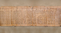 """Anciient Egyptian Book of the Dead papyrus - Spell 30 for stopping the heart betraying the deceased at the tribunal of Osiris, Iufankh's Book of the Dead, Ptolemai period (332-30BC).Turin Egyptian Museum. <br /> <br /> the spell reads ' Stand not against me as a witness, oppose me not in the Council, act not against me before the gods, outweigh me not before the great God, the Lord os the West""""<br /> <br /> The translation of  Iuefankh's Book of the Dead papyrus by Richard Lepsius marked a truning point in the studies of ancient Egyptian funereal studies."""