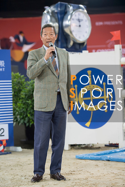 Dr. Simon Yip walks the course before the Hong Kong Jockey Club Trophy competition, part of the Longines Masters of Hong Kong on 10 February 2017 at the Asia World Expo in Hong Kong, China. Photo by Victor Fraile / Power Sport Images
