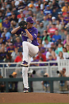 OMAHA, NE - JUNE 26: Hunter Newman (55) of Louisiana State University pitches against the University of Florida during the Division I Men's Baseball Championship held at TD Ameritrade Park on June 26, 2017 in Omaha, Nebraska. The University of Florida defeated Louisiana State University 4-3 in game one of the best of three series. (Photo by Justin Tafoya/NCAA Photos via Getty Images)