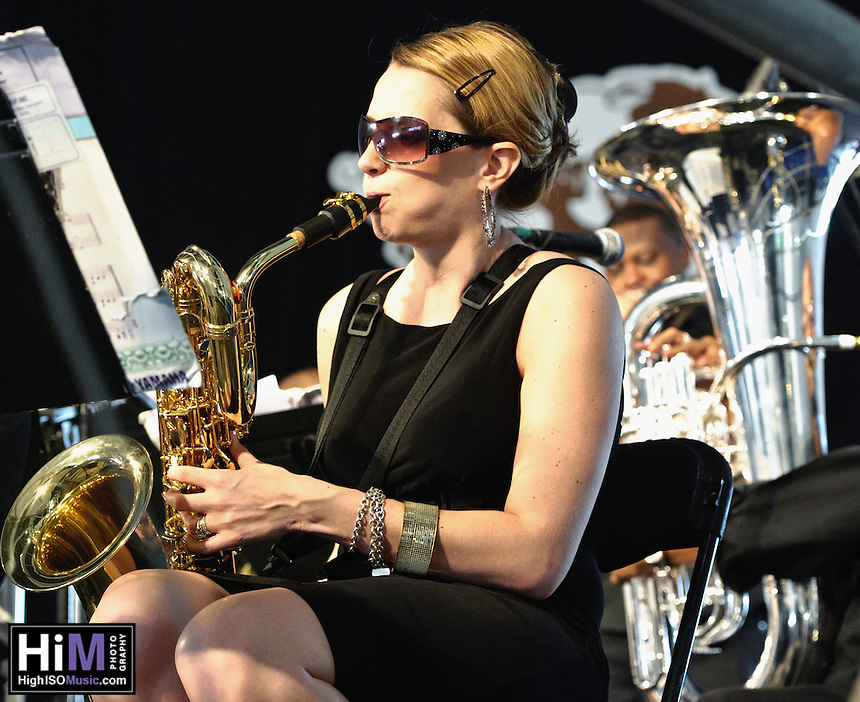 The Mingus Big Band plays at Jazz Fest 2011 in New Orleans, LA on day 5.