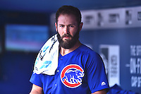 Chicago Cubs starting pitcher Jake Arrieta (49) between innings a game against the Atlanta Braves at Turner Field on June 11, 2016 in Atlanta, Georgia. The Cubs defeated the Braves 8-2. (Tony Farlow/Four Seam Images)