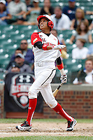 Infielder Yairo Munoz #4 during the Under Armour All-American Game at Wrigley Field on August 13, 2011 in Chicago, Illinois.  (Mike Janes/Four Seam Images)