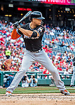14 May 2016: Miami Marlins outfielder Giancarlo Stanton in action during the first game of a double-header against the Washington Nationals at Nationals Park in Washington, DC. The Nationals defeated the Marlins 6-4 in the afternoon matchup.  Mandatory Credit: Ed Wolfstein Photo *** RAW (NEF) Image File Available ***