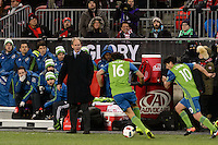 Toronto, ON, Canada - Saturday Dec. 10, 2016: Brian Schmetzer, Nelson Valdez during the MLS Cup finals at BMO Field. The Seattle Sounders FC defeated Toronto FC on penalty kicks after playing a scoreless game.
