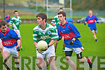 Colaiste na Sceilige's Shane O'Sullivan, lays off the ball ahead of Michael Shaughnessy and Jack Sherwood, Intermediate School Killorglin, during their O'Sullivan Cup final in Lewis Road, Killarney on Wednesday..