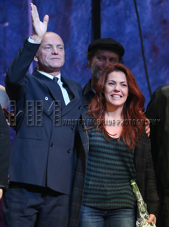 Sting and Rachel Tucker during the Broadway Opening Night Performance Curtain Call for 'The Last Ship' at the Neil Simon Theatre on October 26, 2014 in New York City.
