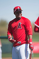 Los Angeles Angels infielder Luis Valbuena (18) jokes with Shohei Ohtani (not pictured) during Spring Training Camp on February 22, 2018 at Tempe Diablo Stadium in Tempe, Arizona. (Zachary Lucy/Four Seam Images)