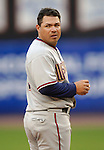 3 April 2006: Jose Vidro, second baseman for the Washington Nationals, looks back to the dugout during Opening Day play against the New York Mets at Shea Stadium, in Flushing, New York. The Mets defeated the Nationals 3-2 to lead off the 2006 MLB season...Mandatory Photo Credit: Ed Wolfstein Photo..