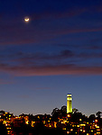 Moon over San Francisco's Coit Tower