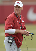 NWA Democrat-Gazette/ANDY SHUPE<br /> Arkansas coach Chad Morris watches his players Saturday, March 10, 2018, during practice at the university practice field in Fayetteville. Visit nwadg.com/photos to see more photos from practice.