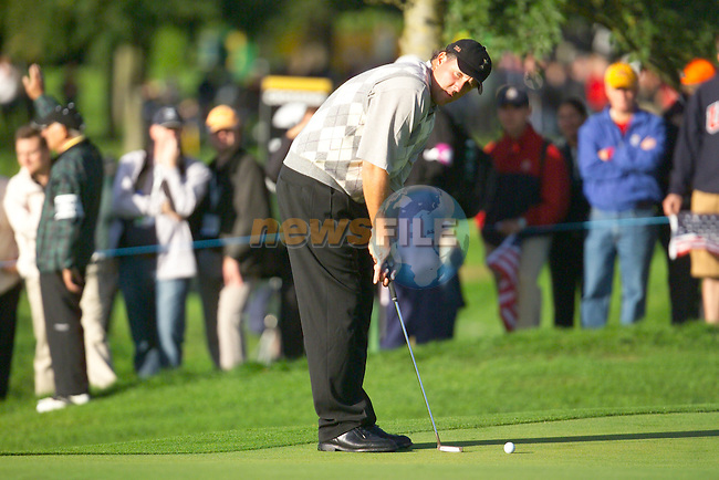 Straffin Co Kildare Ireland. K Club Ruder Cup...American Ryder cup team member Phil Mickelson on the 1st fairway on the  opening fourball session on the first day of the 2006 Ryder Cup, at the K Club in Straffan, Co Kildare, in the Republic of Ireland, 22 September 2006..Photo: Eoin Clarke/ Newsfile.<br />