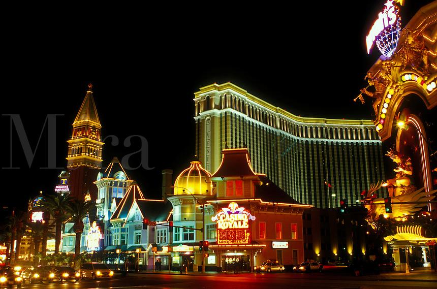 Las Vegas, Nevada, casinos, hotel, NV, The Strip, Nightlife along The Strip at night in Las Vegas, the Entertainment Capital of the World.