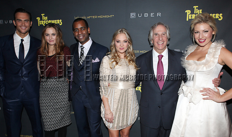 Cheyenne Jackson, Alicia Silverstone, Daniel Breaker, Jenni Barber, Henry Winkler & Ari Graynor attending the Broadway Opening Night Performance After Party for 'The Performers' at E-Space in New York City on 11/14/2012