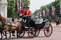 Camilla Duchess of Cornwall, Catherine Duchess of Cambridge<br /> Trooping the Colour, at Buckingham Palace, London, England, UK  June 09, 2018.<br /> CAP/GOL<br /> &copy;GOL/Capital Pictures