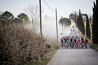 peloton on the white dust roads of Tuscany<br /> <br /> 13th Strade Bianche 2019 (1.UWT)<br /> One day race from Siena to Siena (184km)<br /> <br /> ©kramon