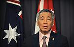 Singapore Prime Minister Lee Hsien Loong speaks during a press conference with Australian Prime Minister Julia Gillard at Parliament House, Canberra, Thursday October 11th 2012. AFP PHOTO / Mark GRAHAM