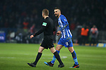 16.03.2019, OLympiastadion, Berlin, GER, DFL, 1.FBL, Hertha BSC VS. Borussia Dortmund, <br /> DFL  regulations prohibit any use of photographs as image sequences and/or quasi-video<br /> <br /> im Bild Rote Karte fuer Vedad Ibisevic (Hertha BSC Berlin #19),<br /> Schiedsrichter Tobias Welz<br /> <br />       <br /> Foto © nordphoto / Engler