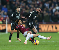 West Ham United's Felipe Anderson and Burnley's Steven Defour<br /> <br /> Photographer Rob Newell/CameraSport<br /> <br /> The Premier League - West Ham United v Burnley - Saturday 3rd November 2018 - London Stadium - London<br /> <br /> World Copyright &copy; 2018 CameraSport. All rights reserved. 43 Linden Ave. Countesthorpe. Leicester. England. LE8 5PG - Tel: +44 (0) 116 277 4147 - admin@camerasport.com - www.camerasport.com