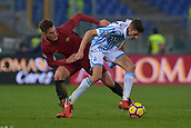 1st December 2017, Stadio Olimpico, Rome, Italy; Serie A football. AS Roma versis Spal;  Patrik Schick Roma challenges Federico Mattiello Spal.