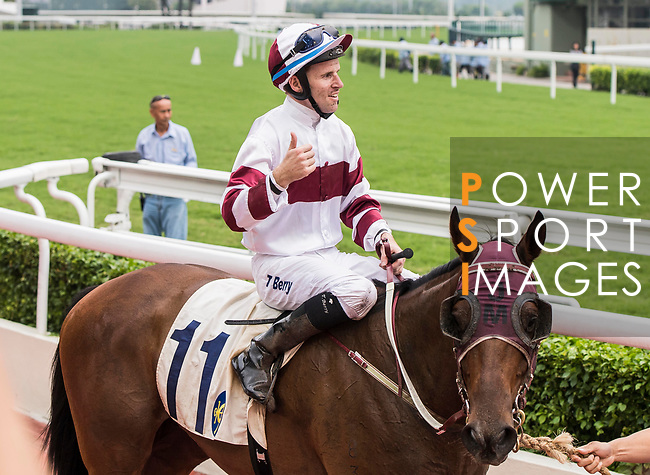 Jockey Tommy Berry ridding horse Hair Trigger celebrates winning the Race 7, Cotton Tree Handicap, at the Sha Tin Racecourse on 03 September 2017 in Hong Kong, China. Photo by Marcio Rodrigo Machado / Power Sport Images