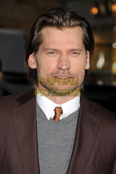 "Nikolaj Coster-Waldau.""Oblivion"" Los Angeles Premiere held at the Dolby Theatre, Hollywood, California, USA..April 10th, 2013.headshot portrait white shirt grey gray top brown tie suit jacket stubble facial hair .CAP/ADM/BP.©Byron Purvis/AdMedia/Capital Pictures."
