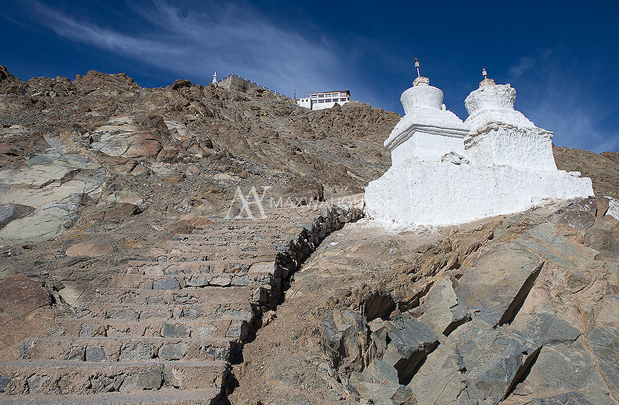 This is a tough climb to make on one's first day in Leh, while getting acclimated to the severe altitude!