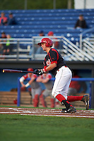 Batavia Muckdogs catcher Blake Anderson (26) at bat during a game against the Williamsport Crosscutters on August 27, 2015 at Dwyer Stadium in Batavia, New York.  Batavia defeated Williamsport 3-2.  (Mike Janes/Four Seam Images)