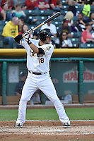 Jimmy Swift (18) of the Salt Lake Bees at bat against the Reno Aces at Smith's Ballpark on May 4, 2014 in Salt Lake City, Utah.  (Stephen Smith/Four Seam Images)