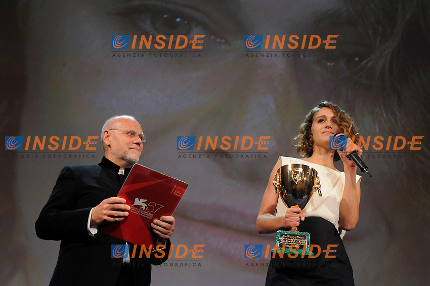 "- ""67 Mostra Internazionale D'Arte Cinematografica"". Saturday,2010 September 11, Venice ITALY....- In The Picture: The actress Ariane Labed, Coppa Volpi for Best Actress, with Marc Muller at the Awards of the 67th Venice Film Festival. ......Photo STEFANO MICOZZI"