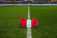 A wreath placed  in honour of the ninety-six children, men and women who lost their lives at the FA Cup semi-final between Liverpool and Nottingham Forest at Sheffield Wednesday's Hillsborough stadium On April 15, 1989 prior to the Barclays Premier League match between Swansea City and Liverpool played at the Liberty Stadium, Swansea  on May the 1st  2016